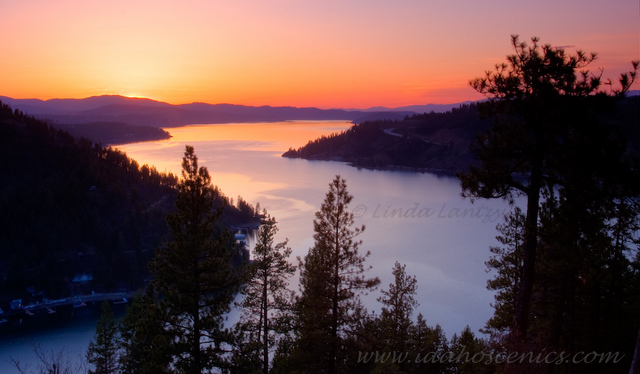 Lake Coeur d'Alene Sunset from Mineral Ridge